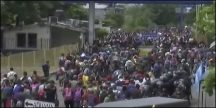 Inmigrantes centroamericanos en la frontera de México.