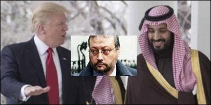 Donald Trump, el periodista Jamal Khashoggi y Mohammed bin Salman, el heredero al trono de Arabia Saudita.