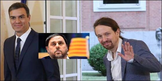 Indignidad: Pedro Sánchez (PSOE), Oriol Junqueras (ERC) y Pablo Iglesias (PODEMOS).