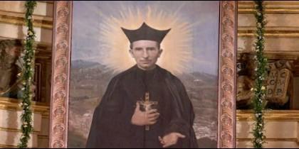 El lienzo del Beato Tiburcio Arnaiz descubierto hoy en su beatificación en la Catedral de Málaga