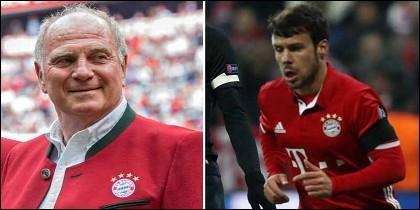 Uli Hoeness, presidente del Bayern, y Juan Bernat.
