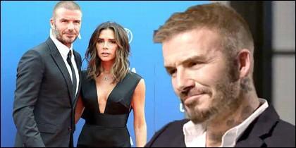El futbolista David Beckham con Victoria.