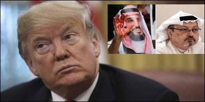 El Presidente Trump, el principe saudí Mohammed bin Salman y el periodista Jamal Khashoggi.