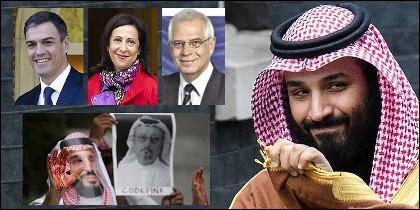 El príncipe heredero, Mohamed bin Salman, con las amnos manchasa de la sangre de Khashoggi, lo que no parece afectar a Sánchez, Robles y Borrell.