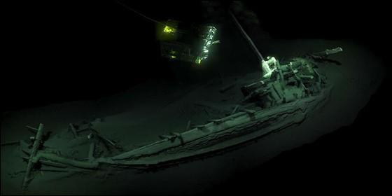 El pecio de 2.400 años de antigüedad hallado en el fondo del mar Negro.