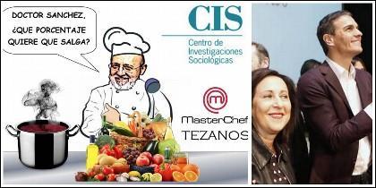 La cocina de Tezanos que haría las delicias de Masterchef, amén de las de los acólitos de Pedro Sánchez.