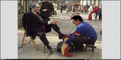 Uno de los memes sobre el servilismo de Pedro Sánchez con el independentista Torra, que circulan por la red.