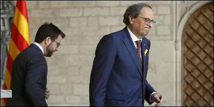 El president autonómico catalán Torra y el vicepresident Aragonès.