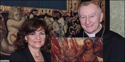Carmen Calvo, y el secretario de Estado vaticano, Pietro Parolin y el Generalísimo Franco.