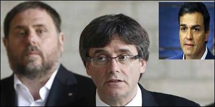 Los independentistas Junqueras y Puigdemont y el socialista Sánchez.