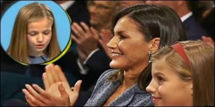 La Reina Letizia aplaude emocionada el discurso de Leonor Princesa de Asturias