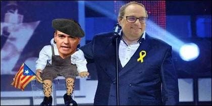 Pedro Sánchez (PSOE) y el independentista Quim Torra en las redes sociales.