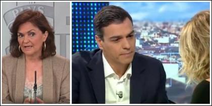 Carmen Calvo y la entrevista a Pedro Sánchez que pareció olvidar.