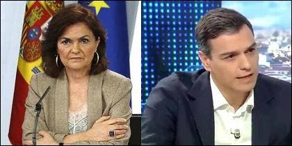 Carmen Calvo y Pedro Sánchez (PSOE).