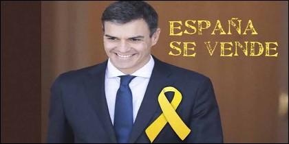 Un meme de Pedro Sánchez y sus cesiones ante los independentistas catalanes.