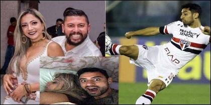 Edson Brittes Júnior con su esposa, el futbolista Daniel Correa y la foto que este envió por Whatsapp a sus amigos cuando se estaba beneficiando a la mujer de su asesino.