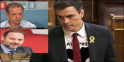 Anger Gil, José Luis Ábalos y Pedro Sánchez, en apoyo de los socios proetarras y separatistas del PSOE.