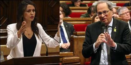 Inés Arrimadas y Quim Torra.