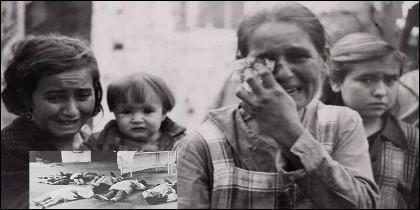 Víctimas del bombardeo republicano de Cabra, en 1938.