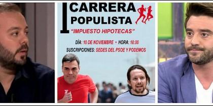 Antonio Maestre, un cartel sobre el populismo hipotecario y Javier Negre.