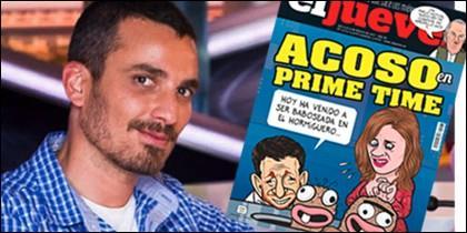Damián Molla, la hormiga Barrancas, y una portada de 'El Jueves' cargando contra 'El Hormiguero'.