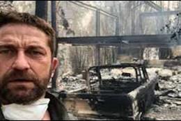 La mansión de Gerard Butler, luego de ser consumida por las llamas.