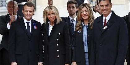 Begoña Gómez, junto a Pedro Sánchez, Macron y su esposa.