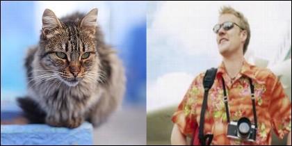 Turista y gato
