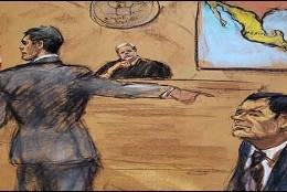 """Ilustración en donde la Fiscalía del Distrito Este de Nueva York acusa a Joaquín """"El Chapo"""" Guzmán."""