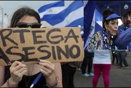 Una opositora nicaragüense con una pancarta contra el presidente Daniel Ortega y su esposa, la vicepresidente Rosario Murillo