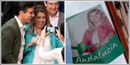 Susana Díaz en un mitin y al lado el cartel sin el logo del PSOE.