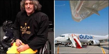 Darren Belling y avión de Fly Dubai
