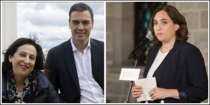 Pedro Sánchez y Margarita Robles, postrados ante Colau.