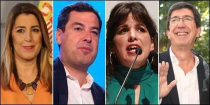 Andalucía: Susana Díaz (PSOE), Juanma Moreno (PP), Teresa Rodríguez (PODEMOS) y Juan Marín (Ciudadanos).