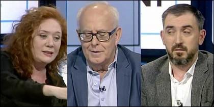 Cristina Fallarás, el presentador Colom, e Ignacio Escolar.