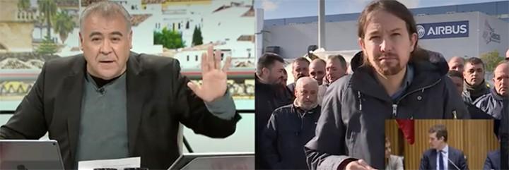 Antonio García Ferreras le pide calma con los gestos a un lanzado Iglesias.