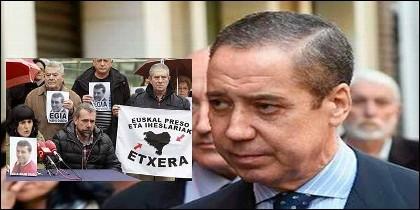 Eduardos Zaplana y una manifestación por los terroristas de ETA presos.
