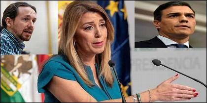 Pablo Iglesias (PODEMOS), Susana Díaz (PSOE-A) y Pedro Sánchez (PSOE).