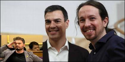 Gabriel Rufián (ERC), Pedro Sánchez (PSOE) y Pablo Iglesias (PODEMOS).