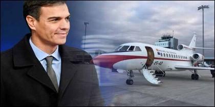 Pedro Sánchez y el avión Falcon oficial.