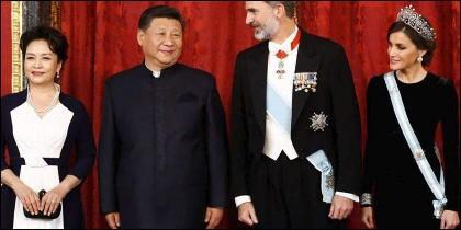 Reyes de España con el presidente de China y señora.