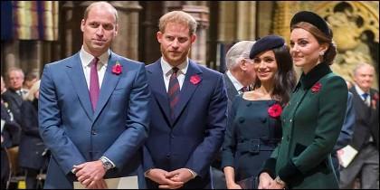 Los príncipes William, Harry, Meghan Markle y Kate Middleton.