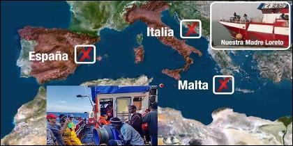 El pesquero 'Madre Loreto' con 12 inmigrantes a bordo.