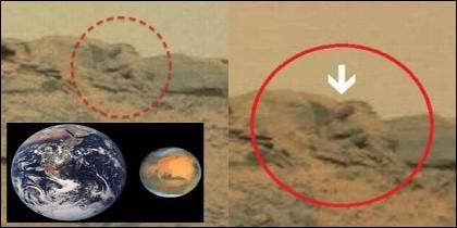 La Tierra y Marte, comparados y el objeto brillante descubierto en el 'Planeta Rojo'.