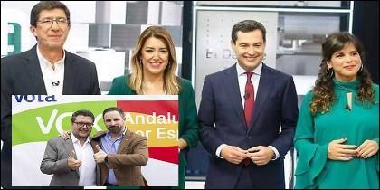 El candidato de Vox a la presidencia de la Junta de Andalucía, Francisco Serrano, con Santiago Abascal y los candidatos de Cs, PSOE, PP y Podemos.