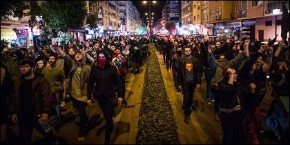 Manifestación de Podemos en las calles de Granada.