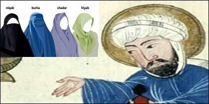 El Islam, Mahoma y distintos tipos de velo islámico.