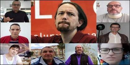 Pablo Iglesias y algunos d elos que se han apuntado como precandidatos a la secretaría general de Podemos.