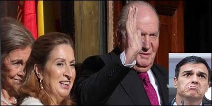 La Reina Sofía, Ana Pastor (PP), el Rey Juan Carlos y Pedro Sánchez (PSOE).