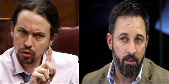 Pablo Iglesias (PODEMOS) y Santiago Abascal (VOX).